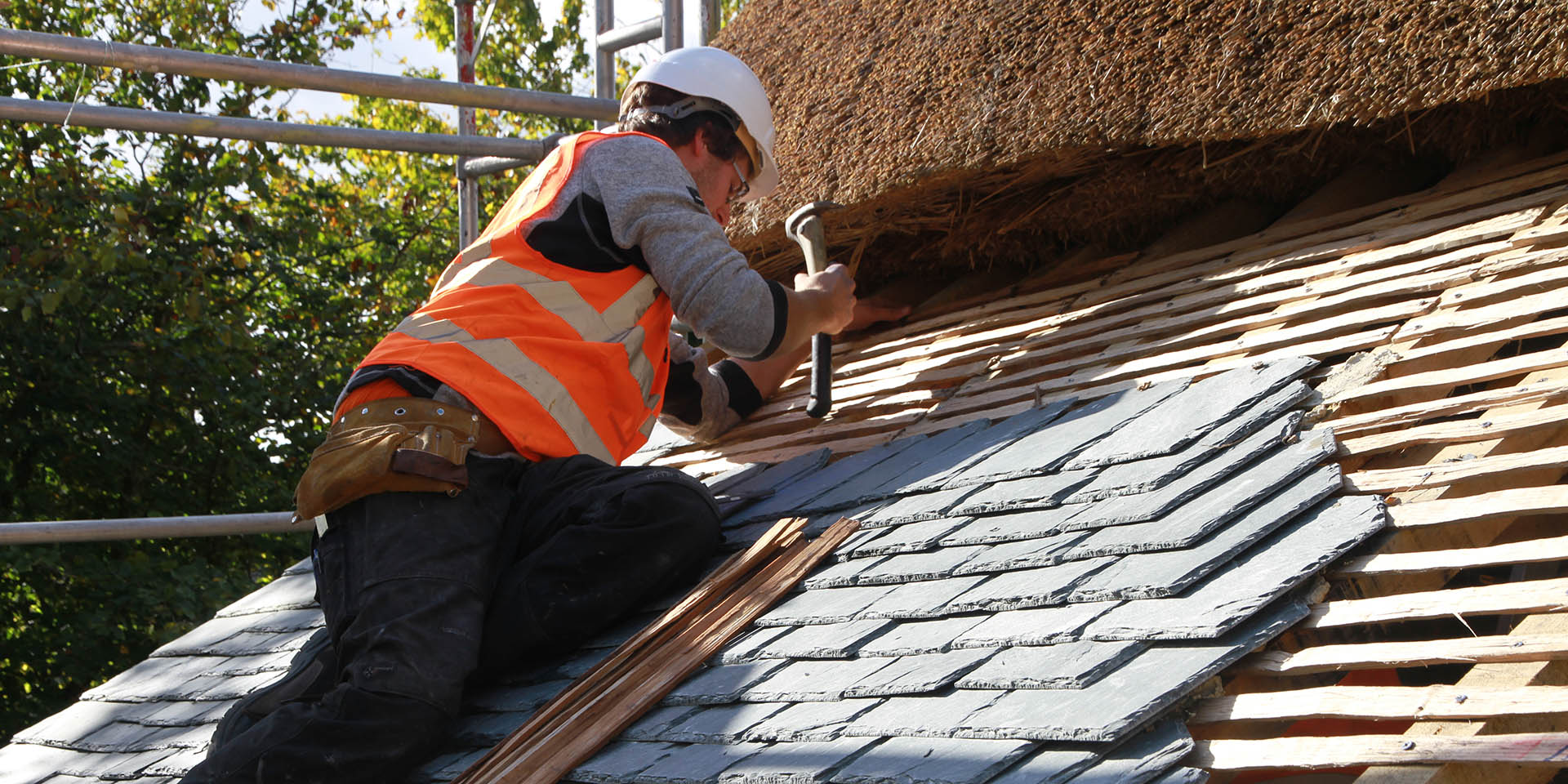 Tiling outer roof at Higher Uppacott