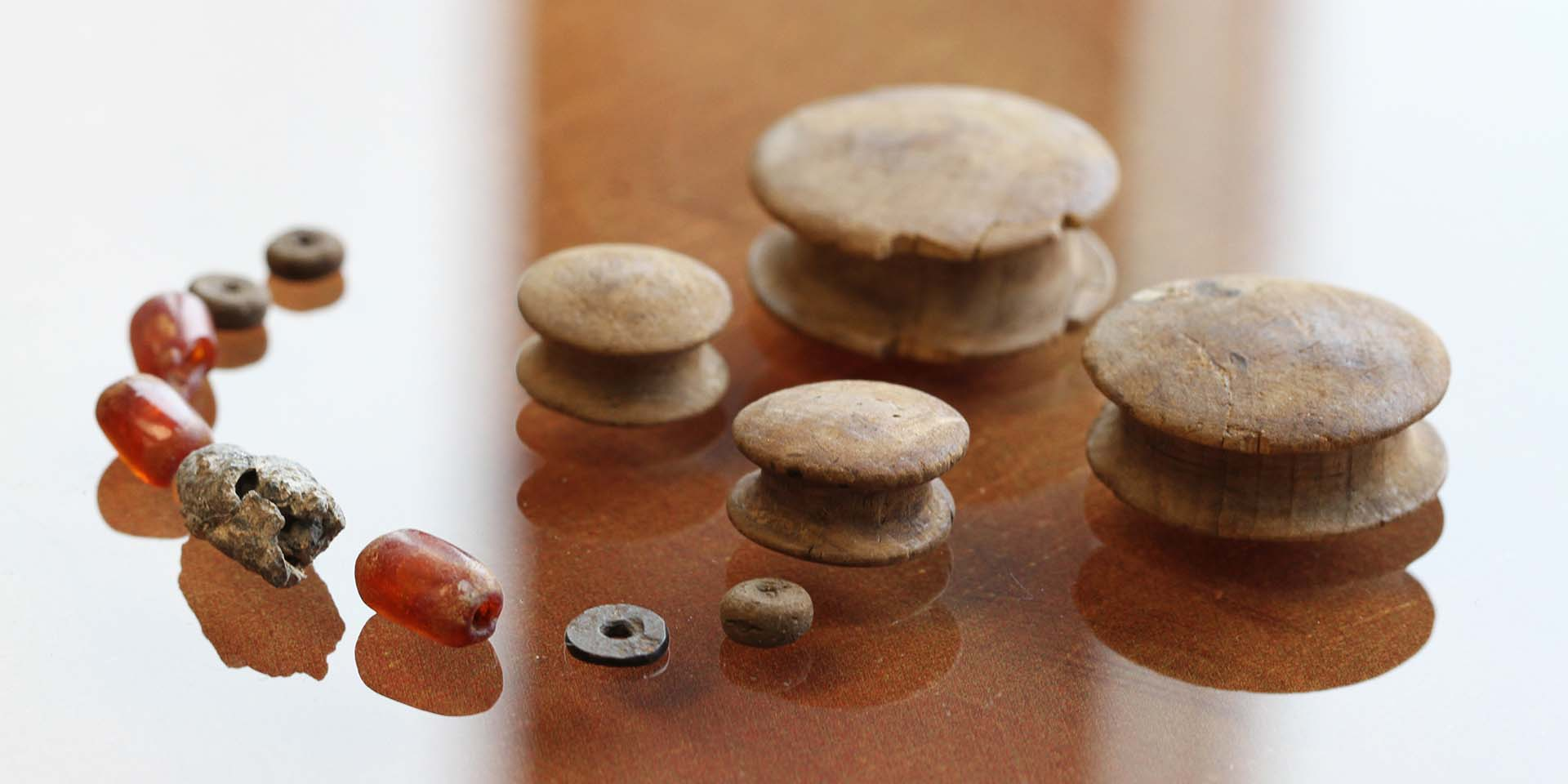 Amber and shale beads and wooden plugs