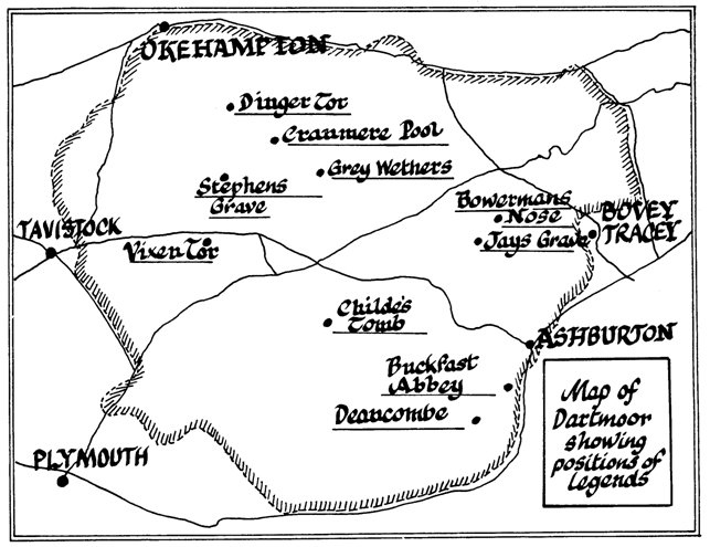 Map of Dartmoor showing locations of the legends