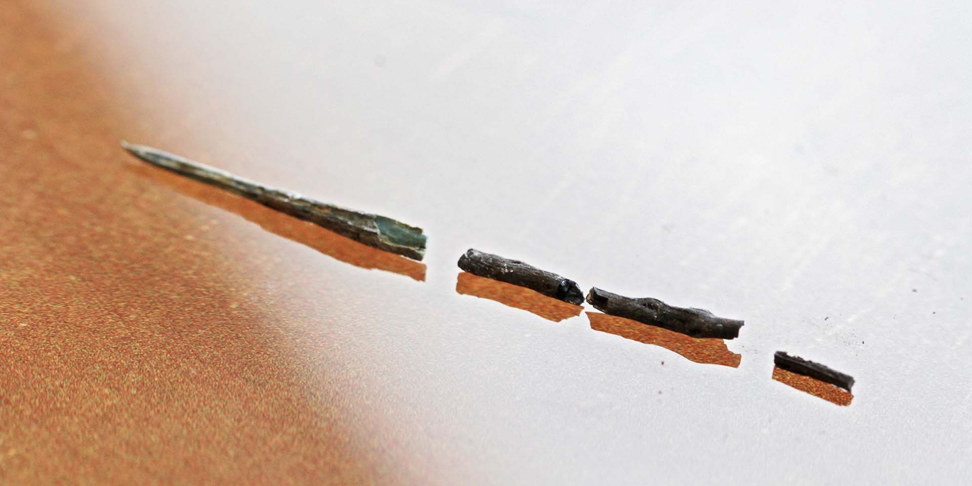 Close-up of copper alloy pin