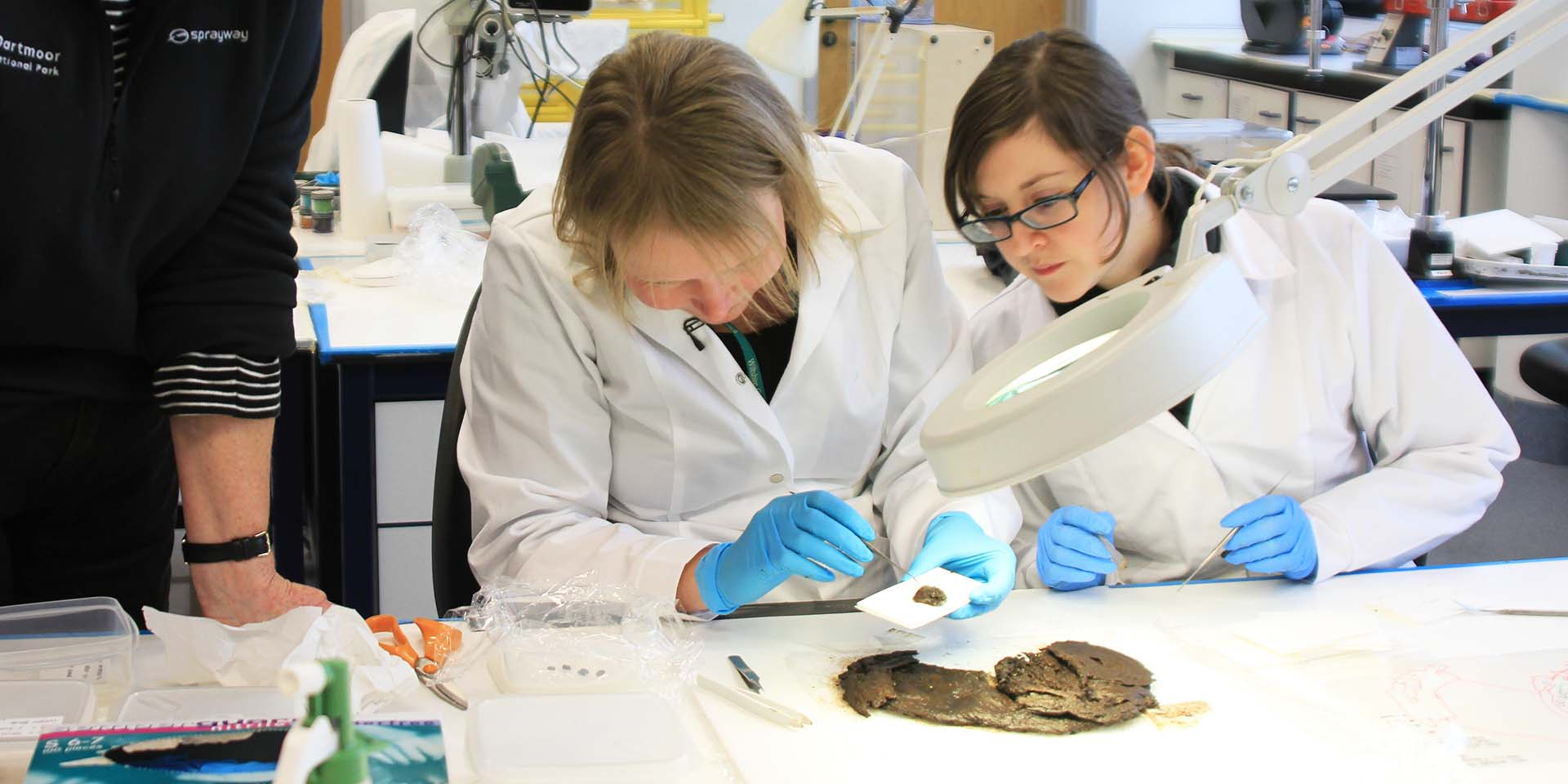 Scientists in laboratory examining artefact