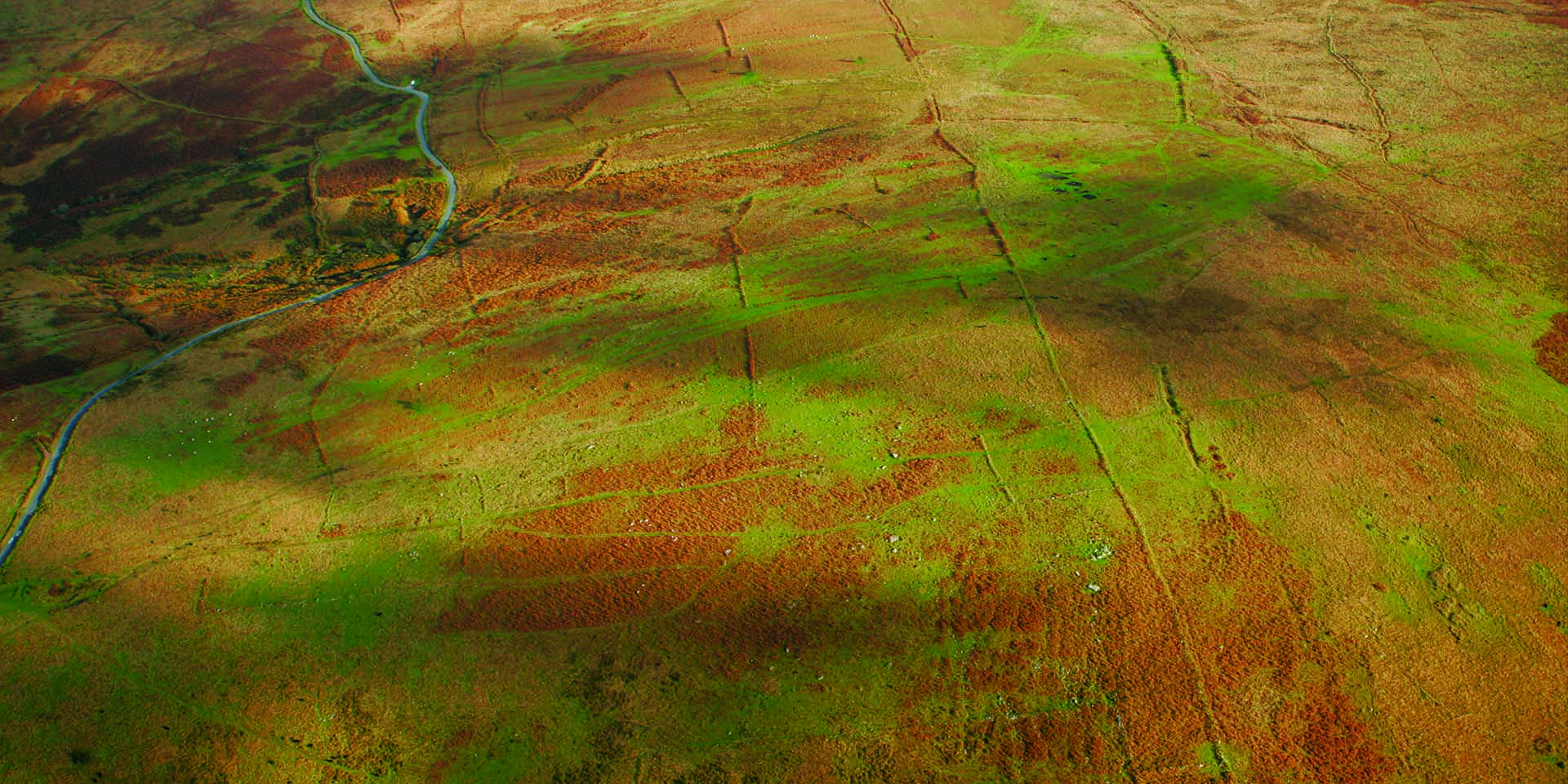 Prehistoric field system aerial view