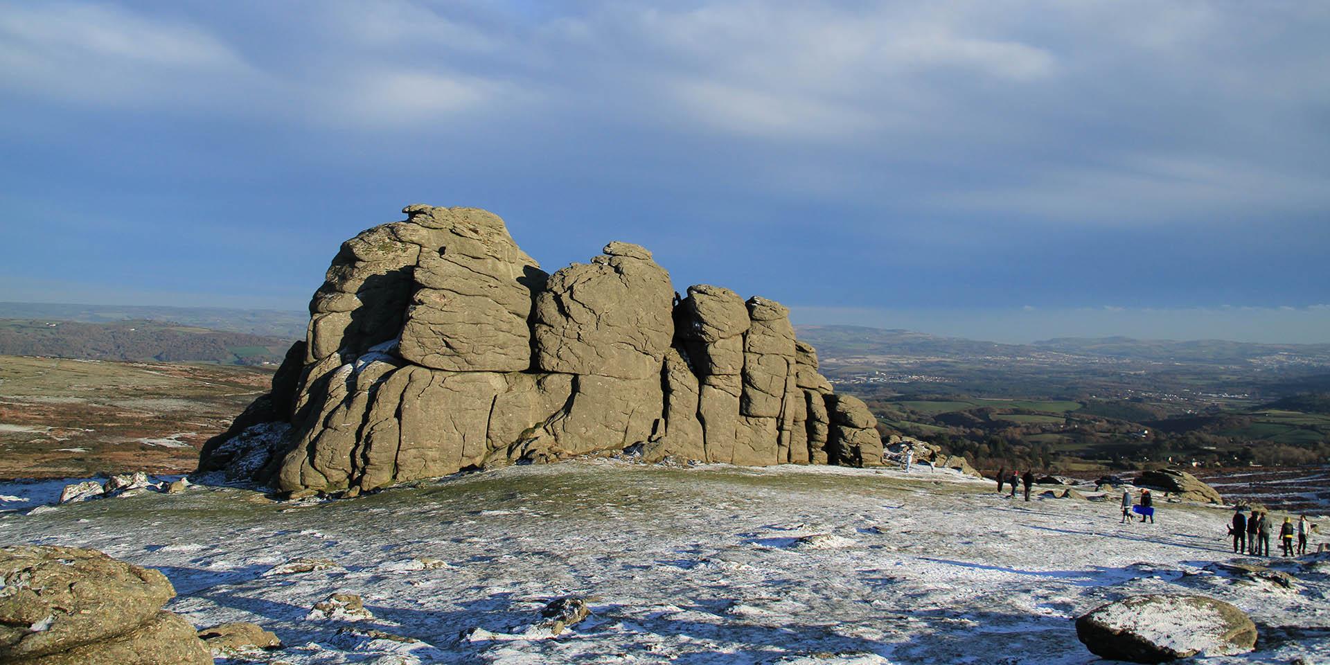 Haytor Rocks in the snow