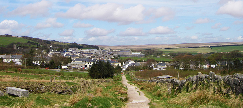 View of Princetown and surrounding moor