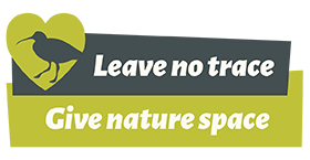 Leave no trace, give nature space, green heart, outline of a curlew
