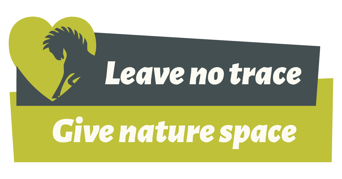 Pony outline in green heart, text says leave no trace give nature space
