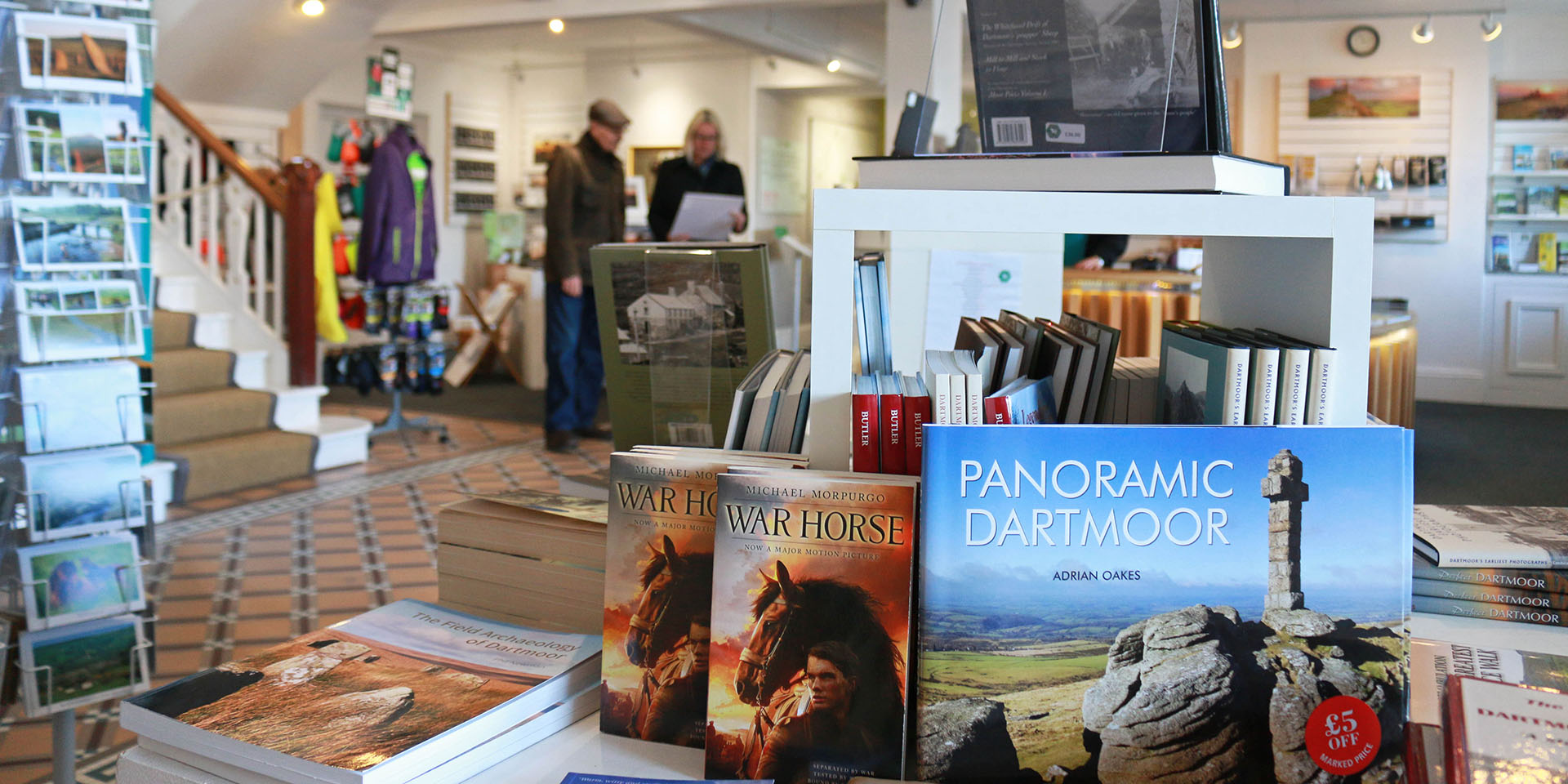 Books and other products on sale in visitor centre shop