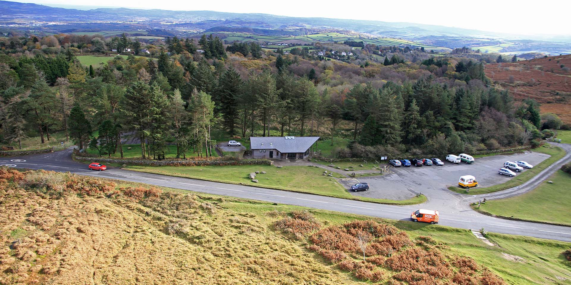 Aerial view of Haytor Visitor Centre