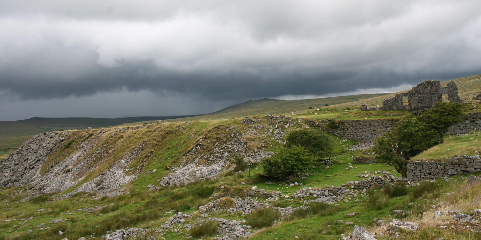 Foggintor Quarry in stormy backdrop