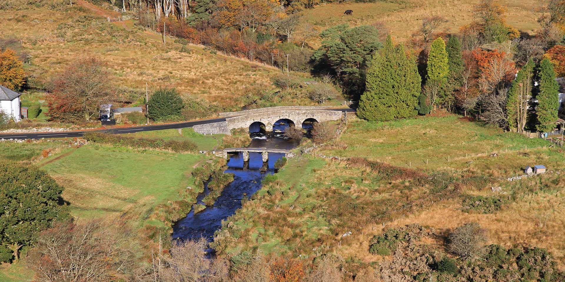 Aerial view of Postbridge clapper bridge
