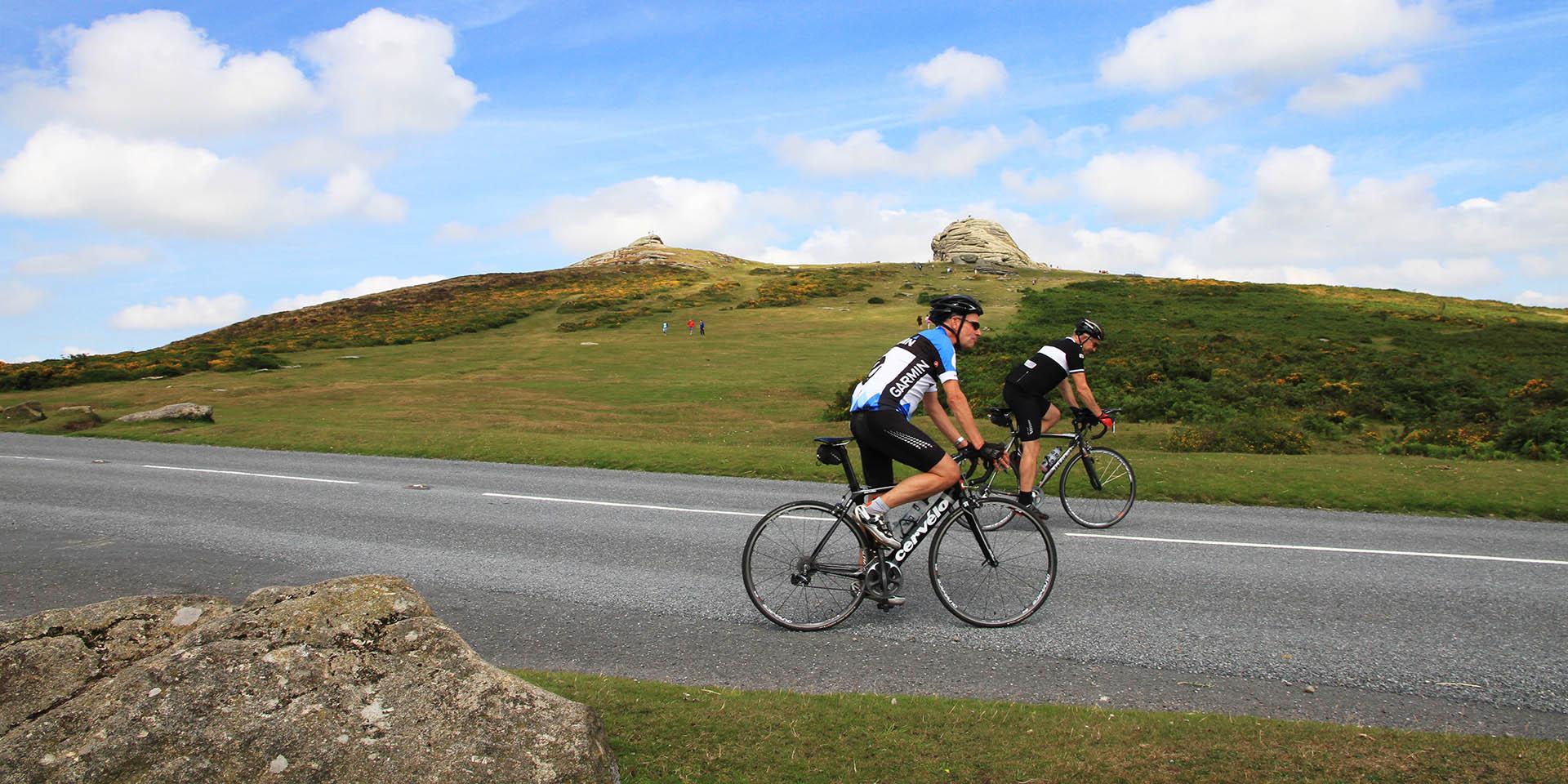 Cyclists on Haytor Road