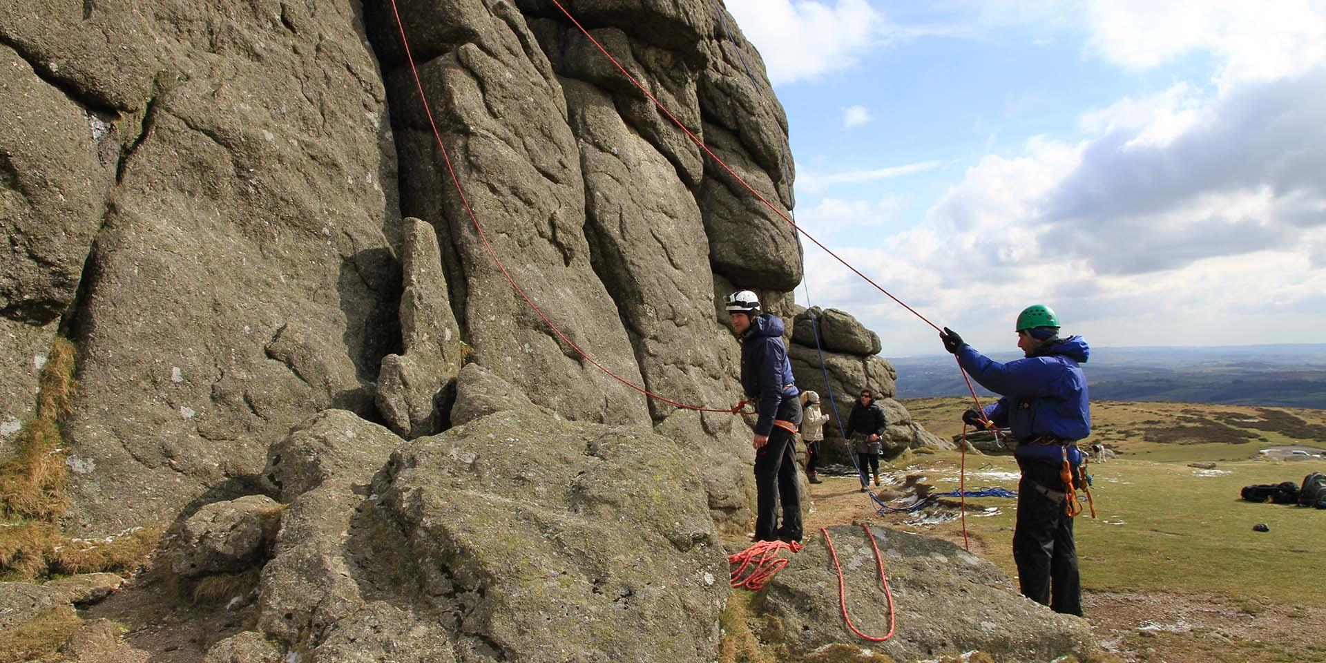 Climbers on Haytor Rock