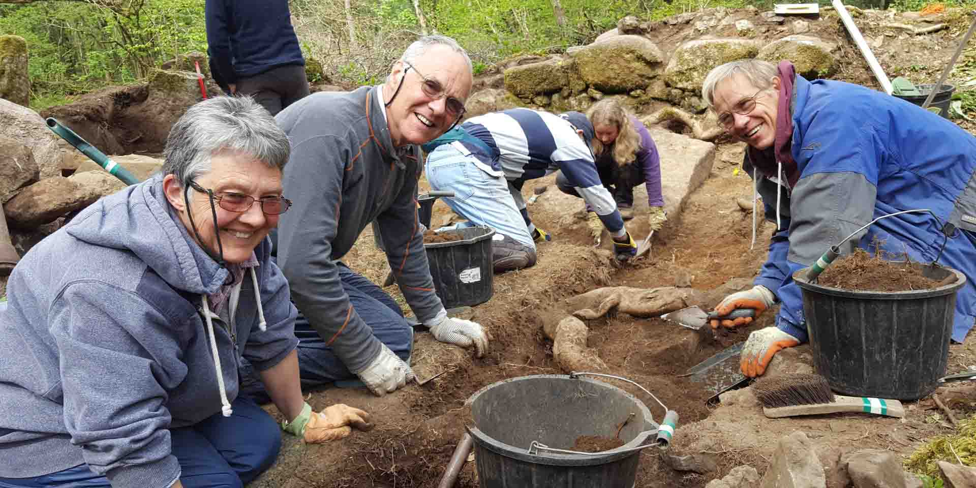 Volunteers digging in the trench at Vinnimore
