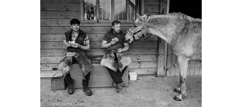 Two farriers having lunch with a horse