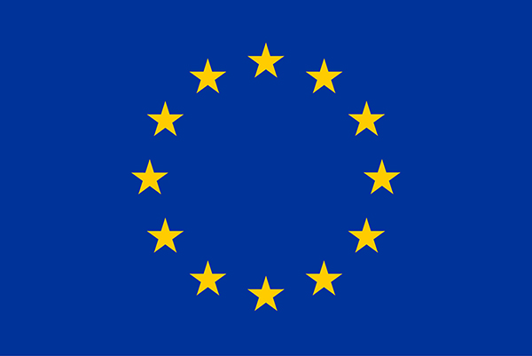 European Union flag yellow stars blue background