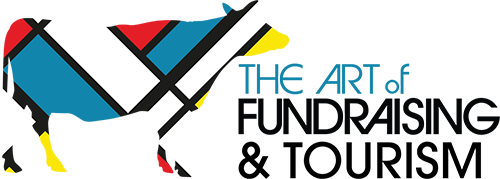 The Art of Fundraising logo with mondrian style cow